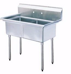 SS Two Tub Pot Sink With No Drain Board 18x18x11