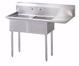 SS Two Tub Pot Sink With Right Drain Board 18x18x11